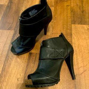 Black Peep-Toe Ankle Boot with Heel